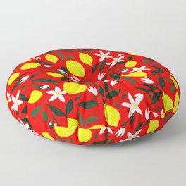 Lemons Red Floor Pillow