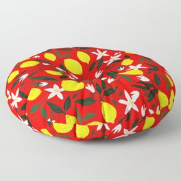 Lemons Red Floor Pillow