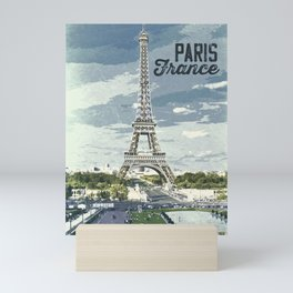 Paris, France / Vintage style poster Mini Art Print