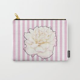 Pale Rose on Stripes Carry-All Pouch
