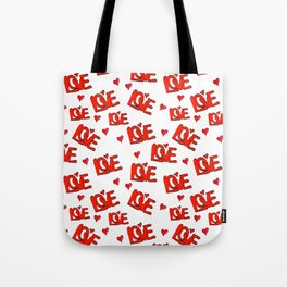 Retro 1970s Hand Drawn Love and Hearts Tote Bag