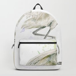 I'm late .. I'm late -  The white  heron said. Backpack