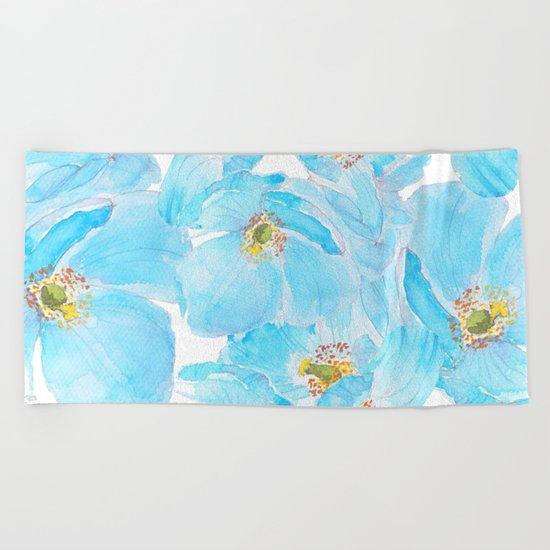 blue poppy pattern Beach Towel