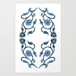 Blue Paisley Double Heart 1 Art Print