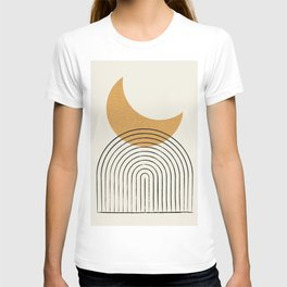Moon mountain gold - Mid century style T-shirt