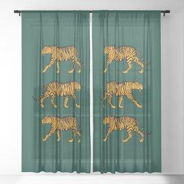 Tigers (Dark Green and Marigold) Sheer Curtain