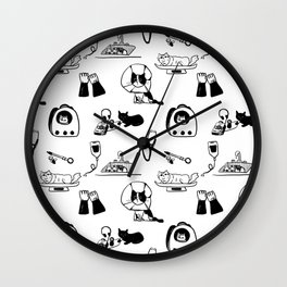 Dr Fluffton's cat clinic day Black and White Wall Clock