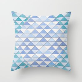 Triangle Pattern No. 9 Shifting Blue and Turquoise Throw Pillow