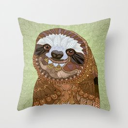 Smiling Sloth Throw Pillow