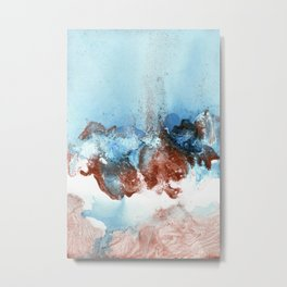 Copper Blue Abstract Sky Metal Print