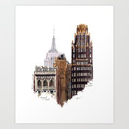 Empire State and Radiator Buildings Art Print