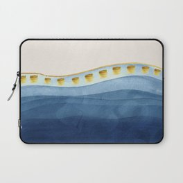 Blue waves and gold strokes Laptop Sleeve