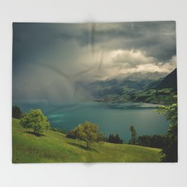 arising storm over lake lucerne Throw Blanket