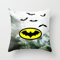 bat man Throw Pillows featuring Bat man  by haroulita
