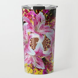 ABSTRACTED FUCHSIA-PINK LILY & HOLLYHOCKS GARDEN Travel Mug