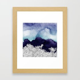 Silver foil on blue indigo paint Framed Art Print