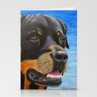 rottweiler Stationery Cards featuring Rottweiler by paintintheneck