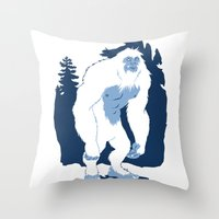 yeti Throw Pillows featuring Yeti by Rachel Young
