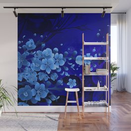Cherry blossom, blue colors Wall Mural
