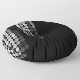 Shades Of Grey Dot Pattern - Syfy - Black & White - Matrix Floor Pillow