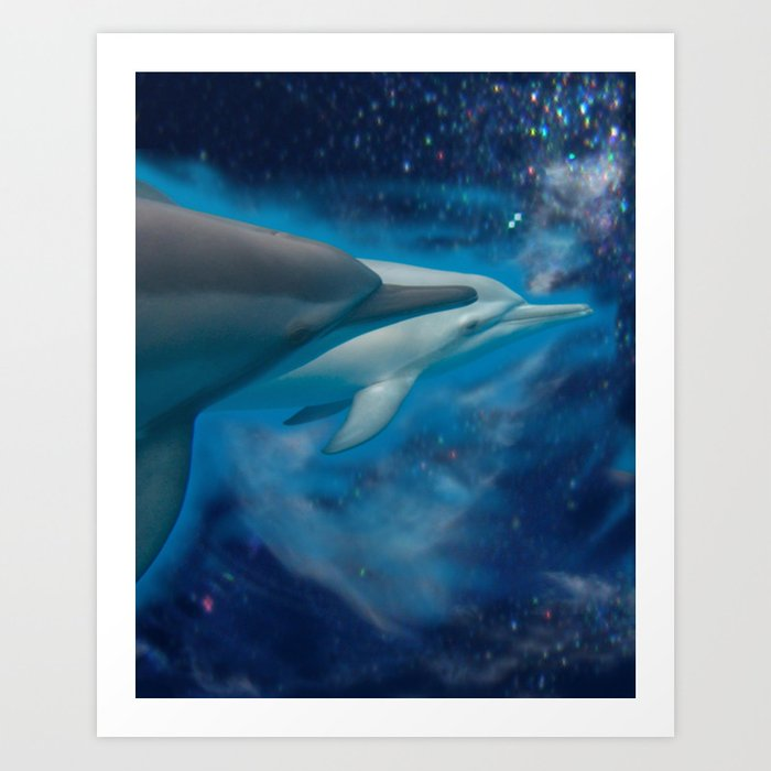 Albino Dolphin Calf and Mom Art Print