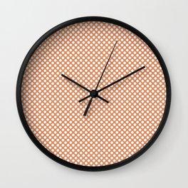 Copper Tan and White Polka Dots Wall Clock