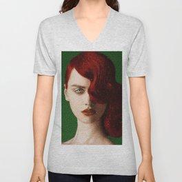 Bet Everything on Red - Female Portrait by Jeanpaul Ferro Unisex V-Neck
