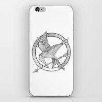 mockingjay iPhone & iPod Skins featuring Mockingjay Symbol by Vera