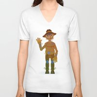 oz V-neck T-shirts featuring OZ - Scarecrow by Drybom