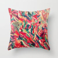 nail polish Throw Pillows featuring Nail Polish Painted by WayfarerPrints