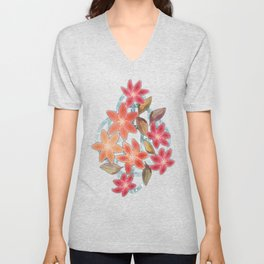 Cute Lilies and Leaves Unisex V-Neck