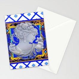 Blue Vintage Girls Cameo Portrait art Stationery Cards