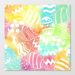 Watercolored Eggs Canvas Print