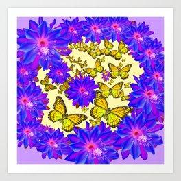 Amethyst Purple Flowers Butterfly Floral  Art Art Print