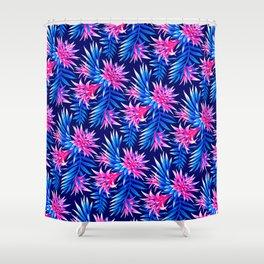 Aechmea Fasciata - Mid Blue/Pink Shower Curtain