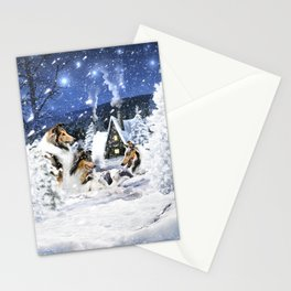 Rough Collies and Lambs in Magic Fairytale Winter Night Stationery Cards