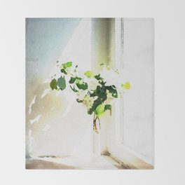 Vase of Flowers with shadows watercolor Throw Blanket
