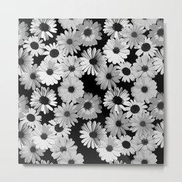 Daisy Black and White Metal Print