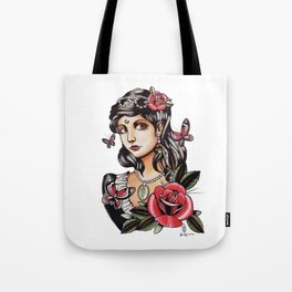 Girl with Butterflies - tattoo Tote Bag