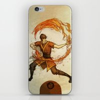 zuko iPhone & iPod Skins featuring Fire by Madalyn McLeod