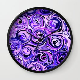 Violet and Lilac Paint Swirls Wall Clock