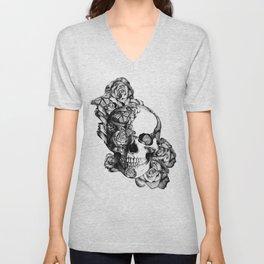 Butterfly rose skull with ladybugs. Good luck Unisex V-Neck
