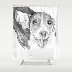 A Story To Tell :: A Beagle Puppy Shower Curtain