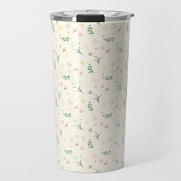 Floral pattern in doodle style with flowers and leaves. Travel Mug
