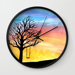 Sunset and Swing Wall Clock