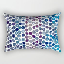 Watercolor Brush Strokes and Splashes Pattern in Cobalt, Violet and Ocher Rectangular Pillow