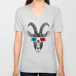 Goat wears 3D glasses Unisex V-Neck