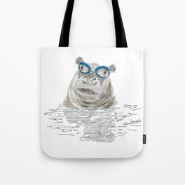 Hippo with swimming goggles Tote Bag