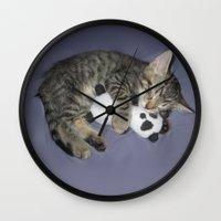 berserk Wall Clocks featuring Monroe Kitten by Berserk Cyborg Panda