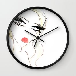 Red Lips Blondy Wall Clock